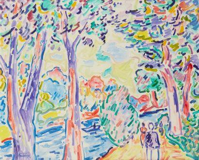 Amand BOUVIER (1913-1997)  Promeneurs au bord de l'eau  Huile sur toile  61 x 72...