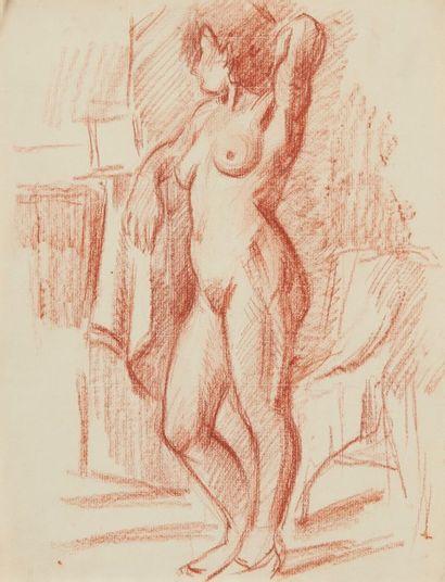 Albert COSTE (Marseille 1895 - 1985)  Etudes de nus et personnages  Trois sanguines...