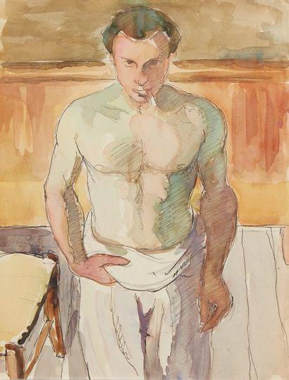 Albert COSTE (Marseille 1895 - 1985)  Personnages et paysages  Lot de 6 aquarelles...