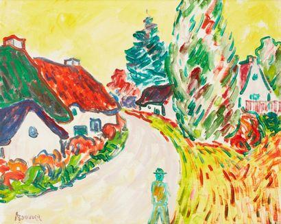 Amand BOUVIER (1913-1997)  Le chemin  Huile sur toile  50 x 61 cm  Signé en bas...