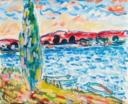 Amand BOUVIER (1913-1997)  Le cyprès  Huile sur toile  50 x 61 cm  Signé et daté...