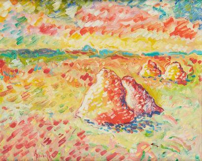 Amand BOUVIER (1913-1997)  Les meules  Huile...