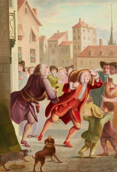 André QUELLIER (1925 - 2010)  Les aveux indiscrets  Huile sur panneau  55 x 38 cm...