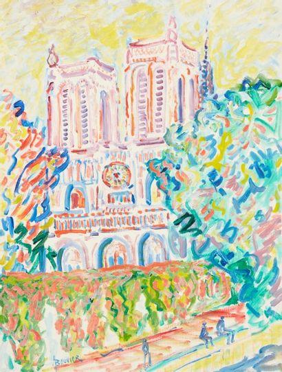 Amand BOUVIER (1913-1997)  Notre-Dame de Paris  Huile sur toile  61 x 46 cm  Signé...