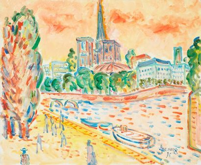 Amand BOUVIER (1913-1997)  Notre-Dame  Huile...