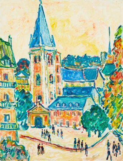 Amand BOUVIER (1913-1997)  St Germain des Prés  Huile sur toile  64,5 x 50 cm  Signé...