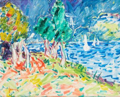 Amand BOUVIER (1913-1997)  Les voiles blanches sur l'étang  Huile sur toile  38...