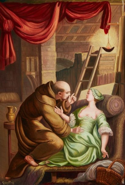 André QUELLIER (1925 - 2010)  Le diable en enfer  Huile sur panneau  55 x 38 cm...