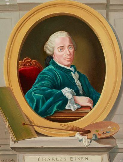 André QUELLIER (1925 - 2010)  Portrait de Charles Eisen  Huile sur panneau  65 x...