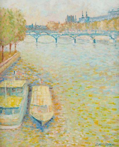 MAZIER (Actif au Xxe siècle)  Le pont des arts  Huile sur toile  55 x 46,5 cm  Signé...
