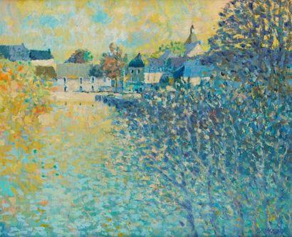 MAZIER (Actif au Xxe siècle)  Ville en bord de rivière  Huile sur toile  46 x 55...