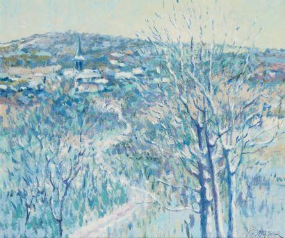 MAZIER (Actif au Xxe siècle)  Première neige dans le Morvan  Huile sur toile  45,5...