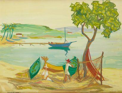 J MOREAU (Actif au Xxe siècle)  Les pêcheurs au filets  Huile sur papier marouflée...