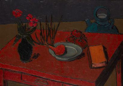 Amand BOUVIER (1913-1997)  Nature morte à la table garnie  Huile sur toile  65 x...