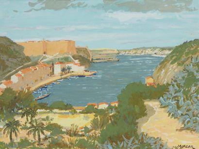 J MOREAU (Actif au Xxe siècle)  Le port  Gouache...