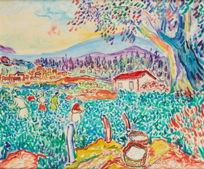 Amand BOUVIER (1913-1997)  Les lavandières  Huile sur toile  54 x 65 cm  Signé en...