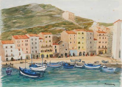 J MOREAU (Actif au Xxe siècle)  Les barques...