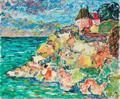 Amand BOUVIER (1913-1997)  Maison sur la côte  Huile sur toile  46 x 55 cm  Signé...