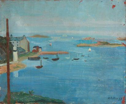 Andrée POLLIER (1916-2009)  Le port  Huile...