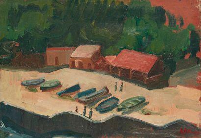 Andrée POLLIER (1916-2009)  Les barques sur...