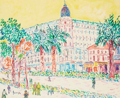Amand BOUVIER (1913-1997)  Promenade sur la croisette à Cannes  Huile sur toile...