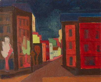 Amand BOUVIER (1913-1997)  La ville  Huile...