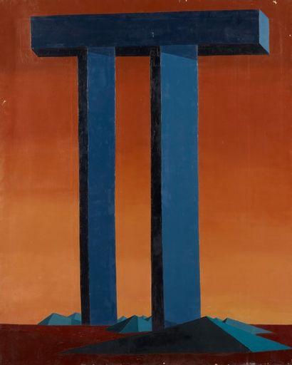 Andrée POLLIER (1916-2009)  Le porche bleu...