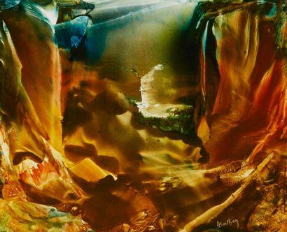 Lucienne BERTHON  Les falaises d'ocres  Huile...