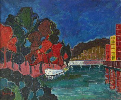 Amand BOUVIER (1913-1997)  La Seine au Pont de Saint Cloud  Huile sur toile  60...