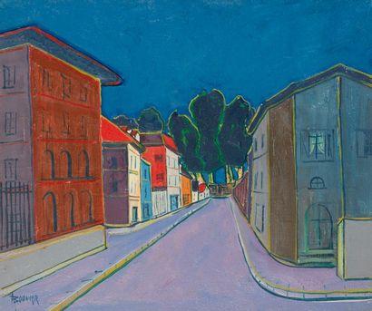 Amand BOUVIER (1913-1997)  La rue  Huile...