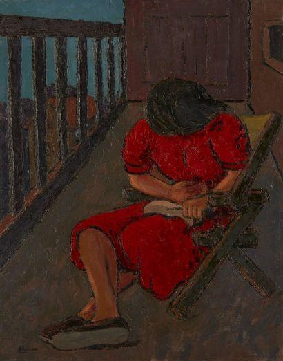 Amand BOUVIER (1913-1997)  Liseuse au balcon...