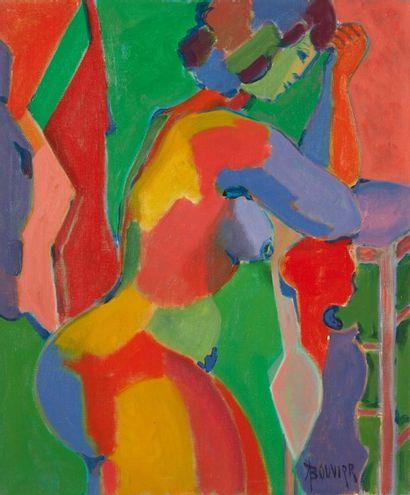 Amand BOUVIER (1913-1997)  Nu de profil  Huile...