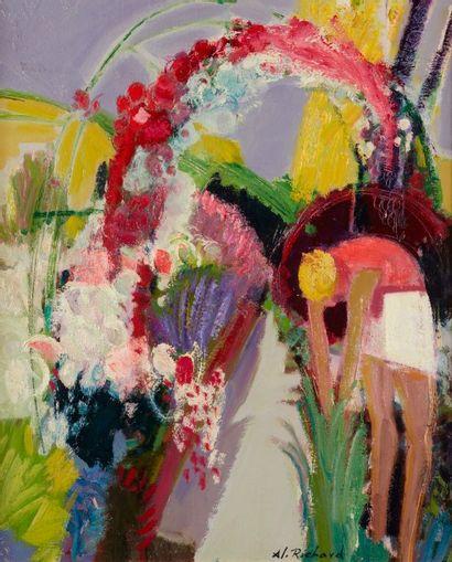 Alain RICHARD (Né en 1933)  Femme au jardin...