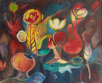 Amand BOUVIER (1913-1997)  Composition  Huile sur toile  60 x 73 cm  Signé en bas...
