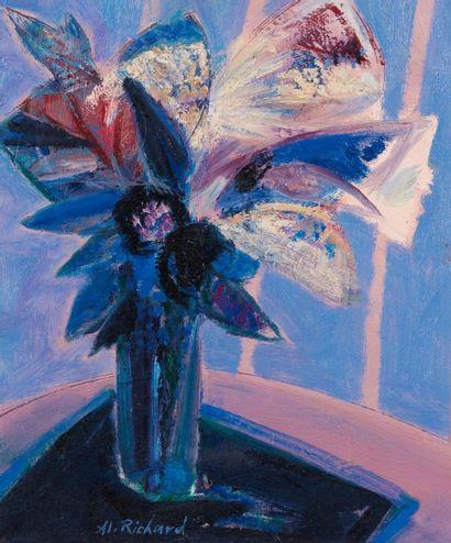 Alain RICHARD (Né en 1933)  Le bouquet bleu...