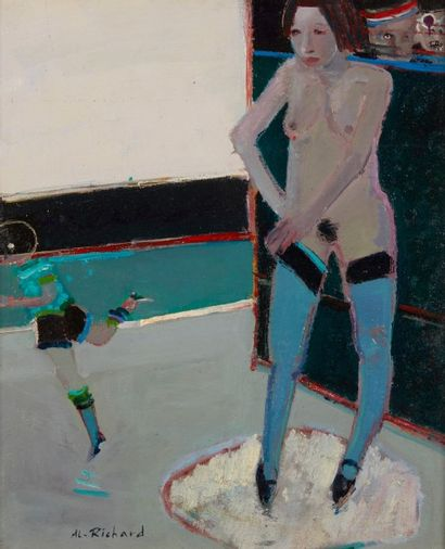 Alain RICHARD (Né en 1933)  Nu aux bas bleus...