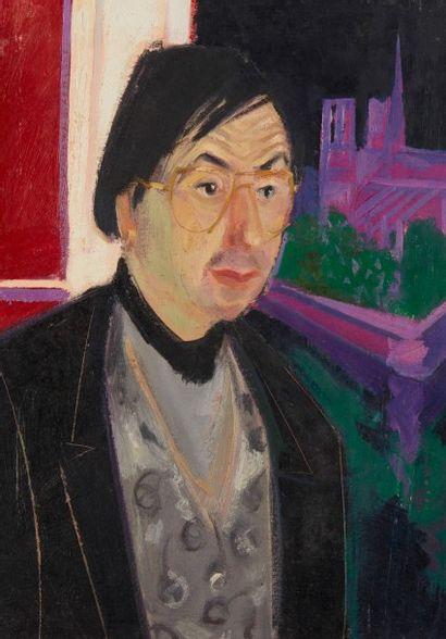 Alain RICHARD (Né en 1933)  Portrait d'homme  Huile sur toile  65 x 46 cm