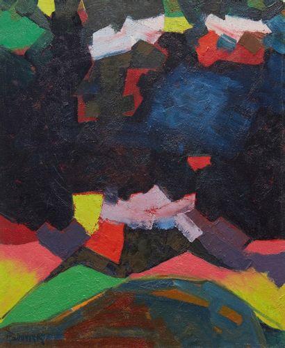 Amand BOUVIER (1913-1997)  La nuit des météores  Huile sur toile  73 x 60 cm  Signé...