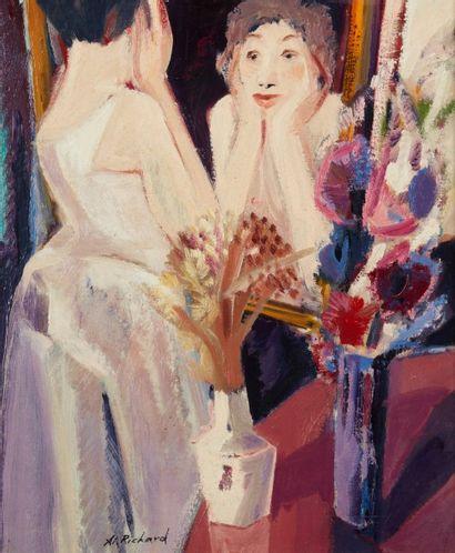 Alain RICHARD (Né en 1933)  Le miroir  Huile sur toile  65 x 54 cm  Signé en bas...