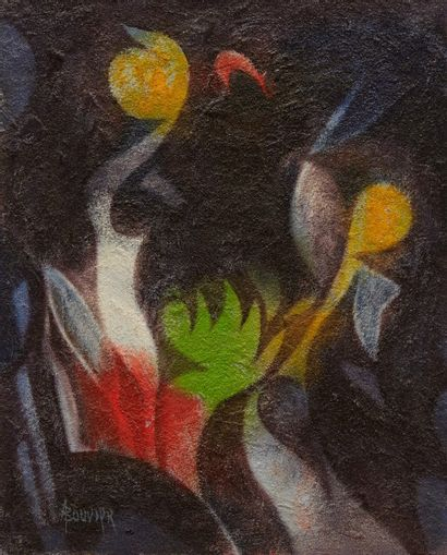 Amand BOUVIER (1913-1997)  Composition  Huile sur toile  41 x 33 cm  Signé en bas...