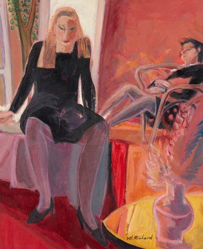 Alain RICHARD (Né en 1933)  Deux femmes  Huile...