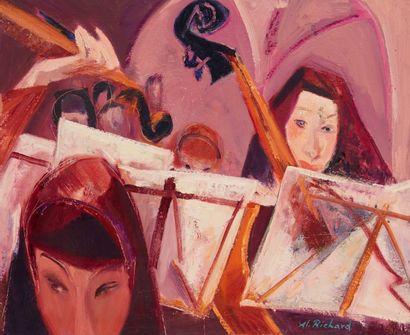 Alain RICHARD (Né en 1933)  L'orchestre  Huile...
