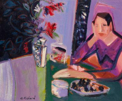 Alain RICHARD (Né en 1933)  Femme pensive...
