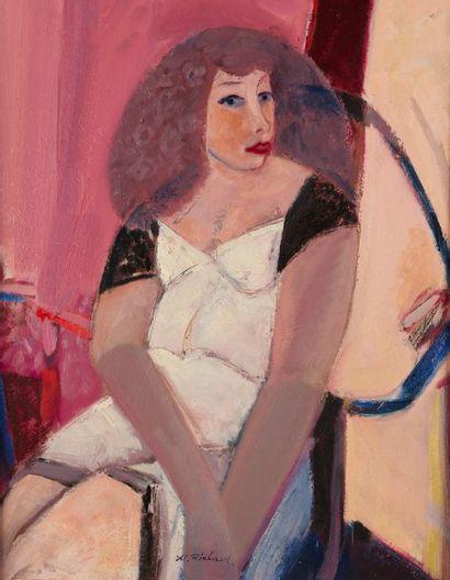 Alain RICHARD (Né en 1933)  Portrait de femme  Huile sur toile  81 x 65 cm  Signé...