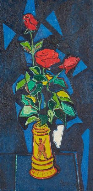 Amand BOUVIER (1913-1997)  Bouquet de roses...