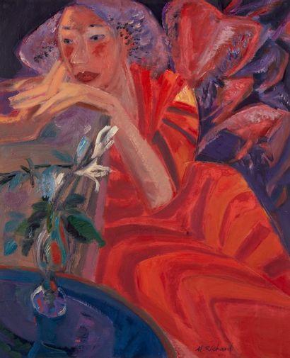 Alain RICHARD (Né en 1933)  Portrait de femme...