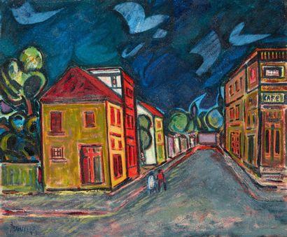 Amand BOUVIER (1913-1997)  Une rue  Huile...