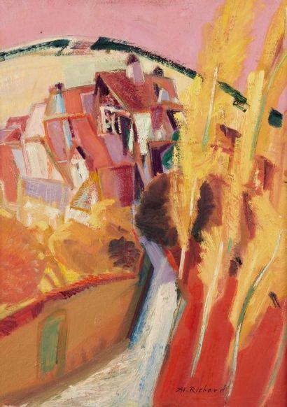 Alain RICHARD (Né en 1933)  L'automne à Villemaur...