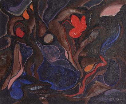 Amand BOUVIER (1913-1997)  Les naiades  Huile sur toile  54 x 65 cm  Signé en bas...