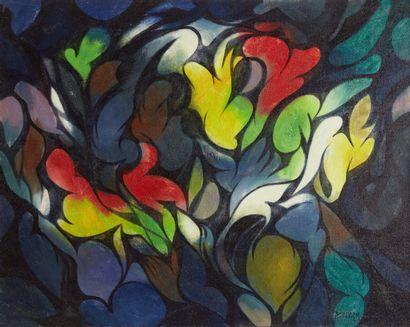 Amand BOUVIER (1913-1997)  Tourbillons cosmiques  Huile sur toile  73,5 x 92 cm...